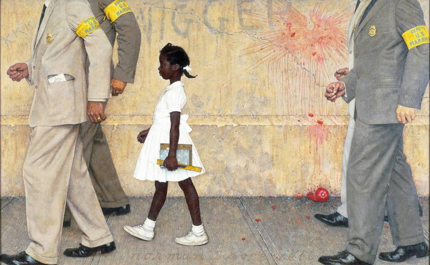 "Ruby Bridges first day of school as depicted by Norman Rockwell in his painting ""The Problem We All Live With."""